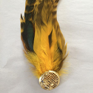 Feather Pin Brooch Gold Tone Fashion Statement